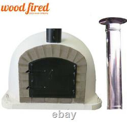 Outdoor wood fired Pizza oven 80cm Deluxe extra grey-brick + 100cm chim & cap