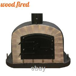Outdoor wood fired Pizza oven 80cm black Deluxe extra grey-brick/black-door