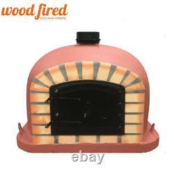 Outdoor wood fired Pizza oven 80cm brick red Deluxe model black Door