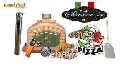 Outdoor wood fired Pizza oven 80cm brick red exclusive model package deal