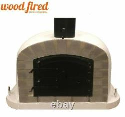 Outdoor wood fired Pizza oven 80cm grey Deluxe extra grey-brick/black-door