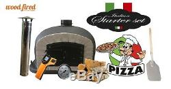 Outdoor wood fired Pizza oven 90cm black Deluxe grey-brick/black-door (package)