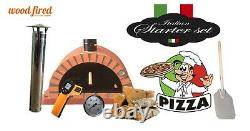 Outdoor wood fired Pizza oven 90cm brick red Pro-Italian orange brick package