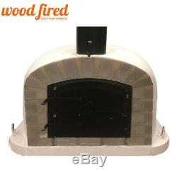 Outdoor wood fired Pizza oven 90cm grey Deluxe extra grey-brick/black-door