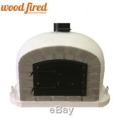 Outdoor wood fired Pizza oven 90cm grey Deluxe grey-brick/black-door