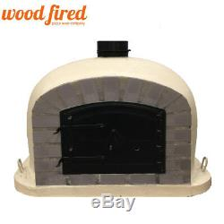 Outdoor wood fired Pizza oven 90cm sand Deluxe grey-brick/black-door