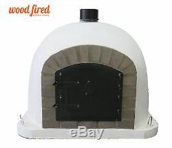 Outdoor wood fired Pizza oven 90cm white Deluxe model grey-brick/black-door