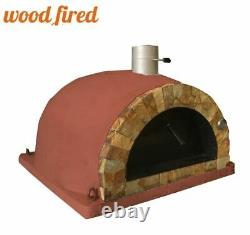 Outdoor wood fired Pizza oven brick red 100cm Pro italian rock face package