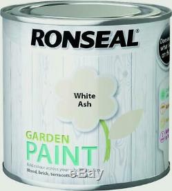 Ronseal Outdoor Garden Paint 250ml Ideal For Fence Wood/Brick/Metal White Ash
