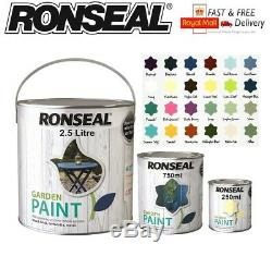 Ronseal Outdoor Garden Paint Wood Metal Stone Brick 250,750,2.5L All Colours