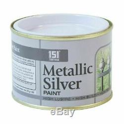 Silver Metallic PAINT Decorating Indoor Outdoor Top Coat Railings Gates Fences