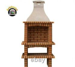 Single Brick outdoor BBQ masonry Mediterranean with chimney and 60X40 grill