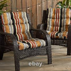 South Pine Porch Outdoor Brick Stripe High Back Chair Cushion, Set of 2
