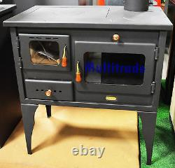 Wood Burning Cooking Stove with Cast Iron Top Solid Fuel Cooker 10kw Prity Oven