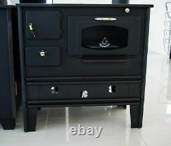 Woodburning cooking stove oven with glass 7 kW cast iron top PROMETEY NAR TYPE B