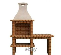 XL Double Brick outdoor BBQ masonry Mediterranean with chimney and 60X40 grill