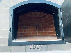 110x110cm Four À Pizza Extérieur En Brique Avec La Fumée De Chrome Et Le Bouchon
