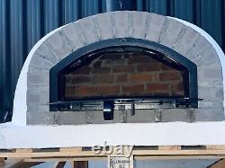 120x120cm Demi-dôme Brique Extérieur Fours À Pizza Avec Chrome Flue Et Bouchon