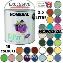 2.5 Litres Ronseal Extérieur Jardin Extérieur Peinture 19 Couleurs Bois Brique Métal Royaume-uni