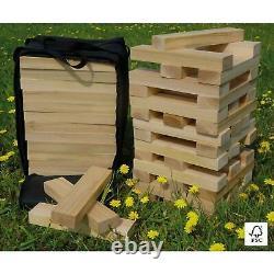 60 Bricks Giant Outdoor Fir Wood Garden Stack'n' Tumble Tower Avec Sac De Rangement