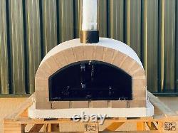 90x90cm Demi-dôme Brique Extérieur Pizza Fours Chrome Flûte Et Bouchon