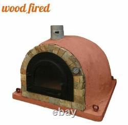 Bois Extérieur Feu Pizza Four 100cm Brique Rouge Pro Deluxe Rock Face Fonte Porte