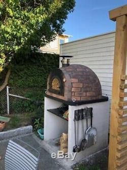 Bois Extérieur Tiré Four À Pizza 100cm Brique Prestige + Fonte Porte En Fer
