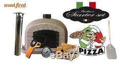 Bois Extérieur Tiré Four À Pizza 100cm Gris Brun-brique De Luxe / Porte Noire (paquet)