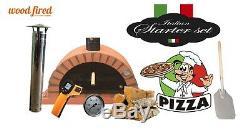 Bois Extérieur Tiré Four À Pizza 120cm Terracotta Package Pro-italien Brique Orange