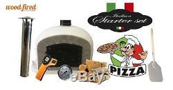 Bois Extérieur Tiré Four À Pizza 80cm Gris-brique De Luxe / Porte Noire (paquet)