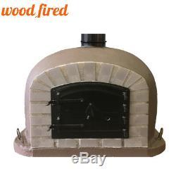 Bois Extérieur Tiré Four À Pizza 90cm Brun Gris-brique De Luxe / Porte Noire