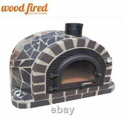 Brique À Bois Extérieur Cuit Four À Pizza 100cm Pro Deluxe Céramique Noire + Porte En Fonte
