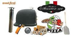 Brique Au Bois Extérieur Cuit Four À Pizza 100cm X 100cm Noir Supérieur Arc Gris