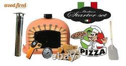 Brique Au Bois Extérieur Cuit Four À Pizza 80cm Terre Cuite Deluxe Modèle Porte Noire