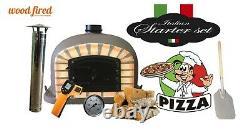 Brique Bois Extérieur Cuit Four À Pizza 80cm Brun Deluxe Porte Noire (paquet)
