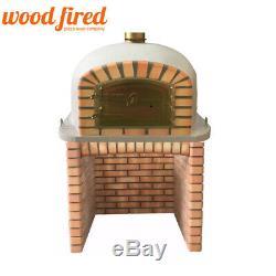 Brique Bois Extérieur Tiré Four À Pizza 100cm Blanc Deluxe Avec Base De Briques Correspondant