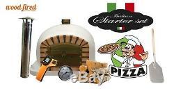 Brique Bois Extérieur Tiré Four À Pizza 100cm Blanc Modèle Deluxe (package Deal)
