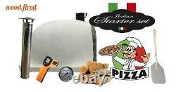 Brique Bois Extérieur Tiré Four À Pizza 100cm Blanc Visage Pierre Supplémentaire De Luxe -package