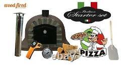 Brique Bois Extérieur Tiré Four À Pizza 100cm Brun Visage Deluxe Pierre Supplémentaire -package