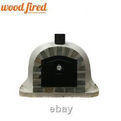 Brique Bois Extérieur Tiré Four À Pizza 100cm Gris Visage De Pierre Modèle De Luxe Supplémentaire