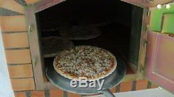 Brique Bois Extérieur Tiré Four À Pizza 100cm Modèle Italien Avec Cheminée Et Chapeau De Cheminée