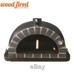 Brique Bois Extérieur Tiré Four À Pizza 100cm Noir Brique Gris Pro-italien