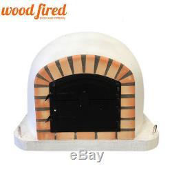 Brique Bois Extérieur Tiré Four À Pizza 100cm Orange Brique Forno Blanc / Noir-porte