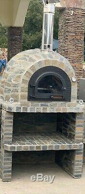 Brique Bois Extérieur Tiré Four À Pizza 100cm Porte Prestige En Fonte Solide Et Une Base