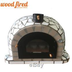 Brique Bois Extérieur Tiré Four À Pizza 100cm Pro Modèle De Luxe En Céramique Blanche