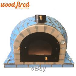 Brique Bois Extérieur Tiré Four À Pizza 100cm Pro Modèle De Luxe En Céramique Bleu