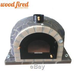 Brique Bois Extérieur Tiré Four À Pizza 100cm Pro Modèle De Luxe En Céramique Gris