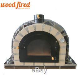 Brique Bois Extérieur Tiré Four À Pizza 100cm Pro Modèle De Luxe En Céramique Noire