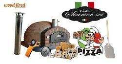Brique Bois Extérieur Tiré Four À Pizza 100cm Rustique Brique Italienne (package Deal)