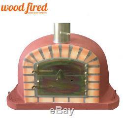 Brique Bois Extérieur Tiré Four À Pizza 100cm X 100cm Deluxe Modèle Extra Red Briques